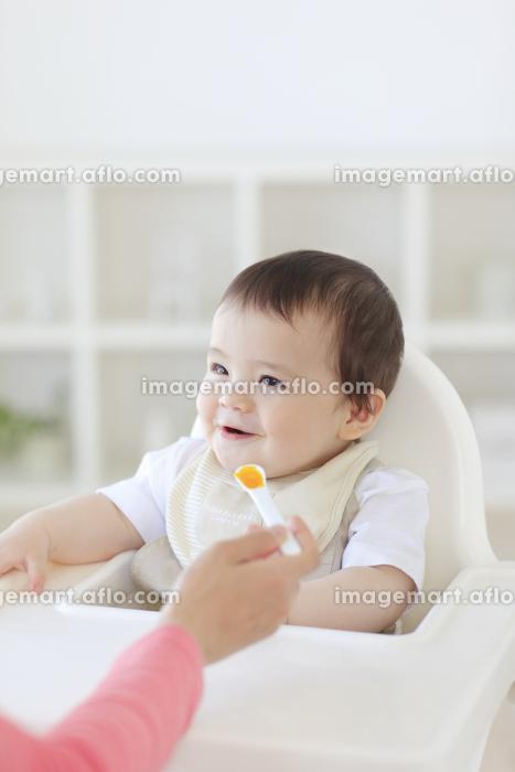 離乳食を食べるハーフの赤ちゃんの販売画像