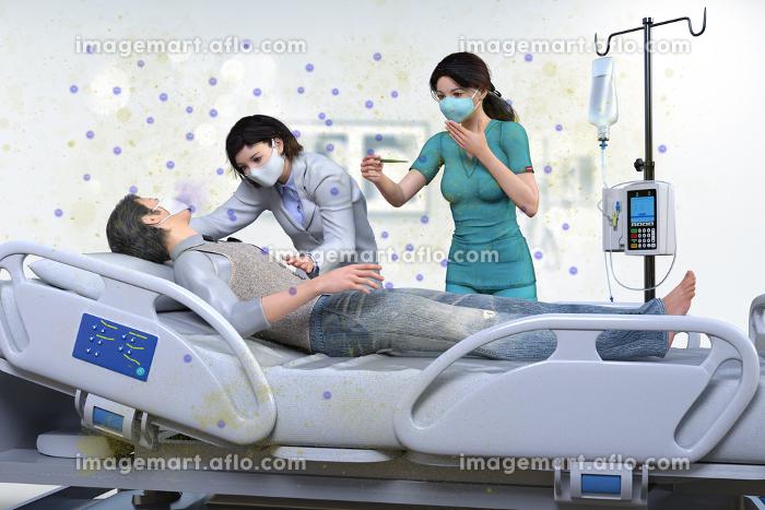 ウイルスに感染し重篤状態になった日本人男性が診察台に乗せられ医師と看護師が病状を確認している