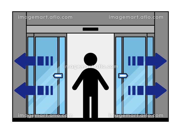 開く自動ドアと人物の販売画像