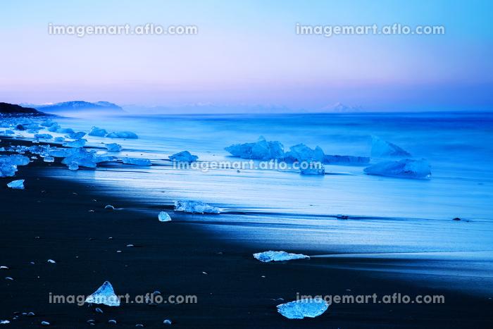 Iceberg on black sand beach of Icelandの販売画像