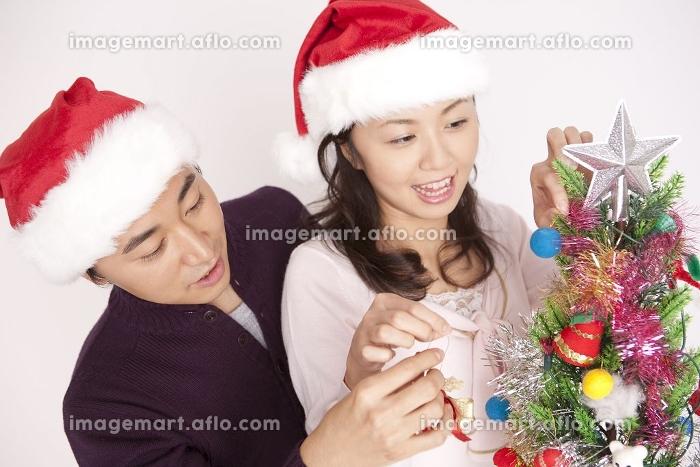 ツリーに飾りつけをするカップルの販売画像