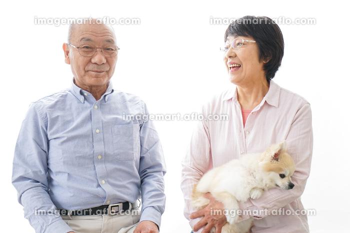 家でリラックスをするシニア夫婦の販売画像