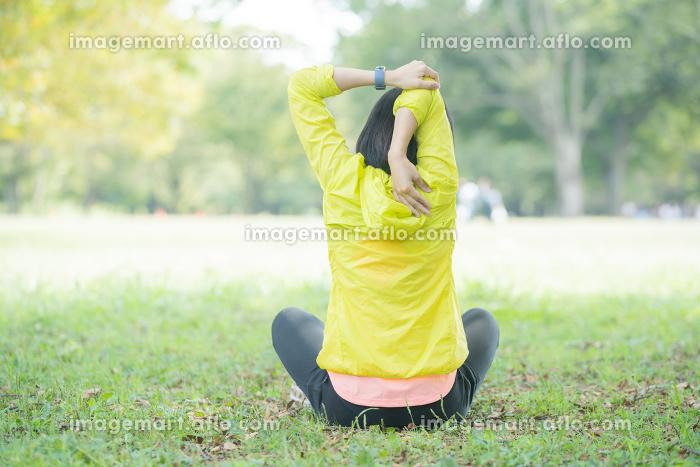公園で運動をする女性の販売画像