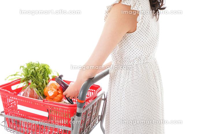 買い物をする若い主婦の販売画像
