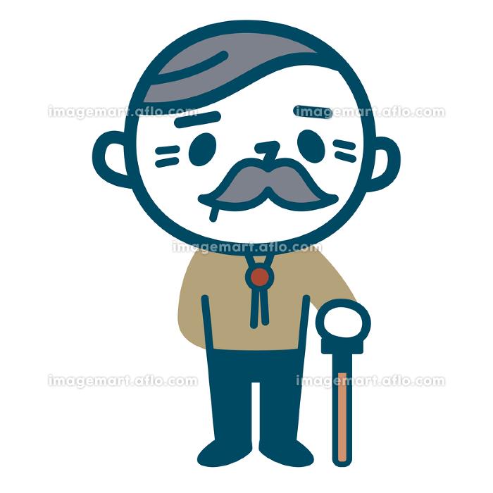 シニア男性と杖の販売画像