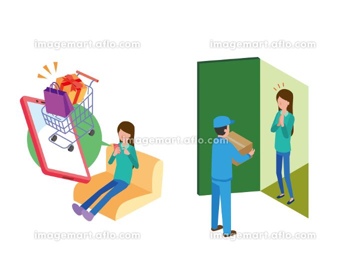 ネットショッピングで買い物をして配達員から受け取る女性の販売画像