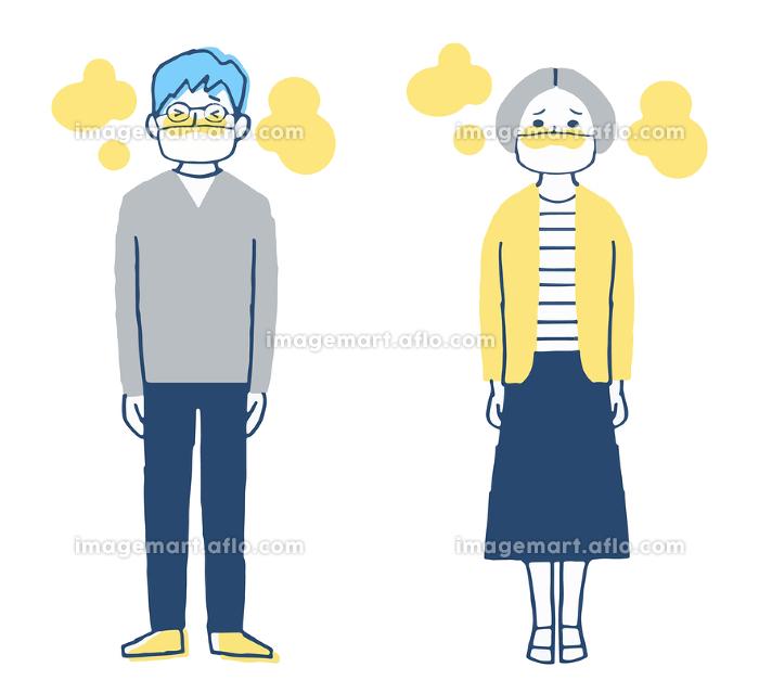 マスクをして暑い2人の販売画像