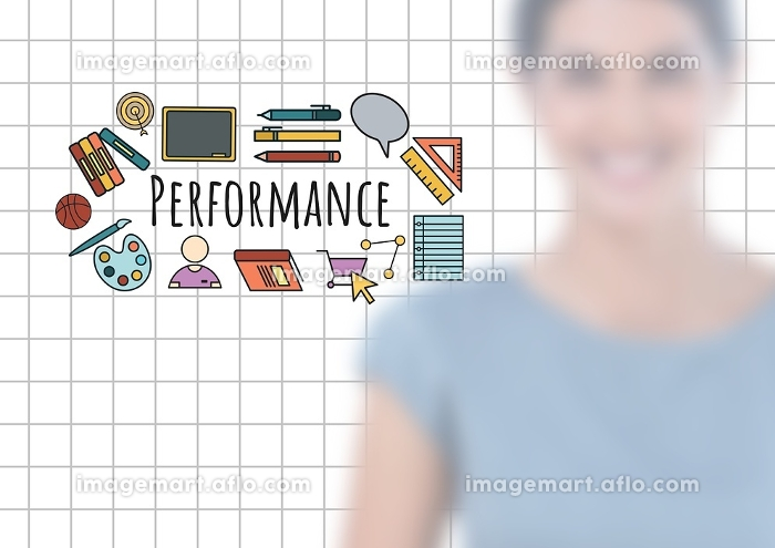 Blurred woman and Performance text with drawings graphicsの販売画像
