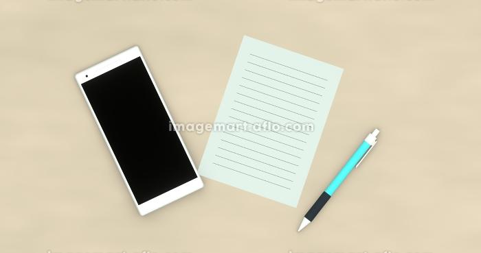 テーブルの上のスマートフォンと紙とペン 3DCGの販売画像