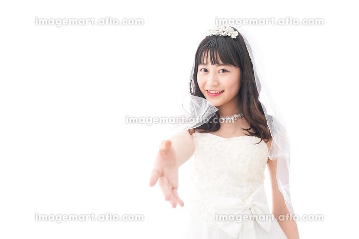 握手をするドレス姿の花嫁の販売画像
