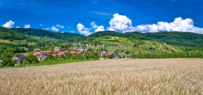 Agricultural landscape and village by the hillの販売画像