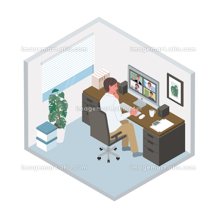 リモートワーク オンライン会議をする男性 アイソメトリック テレワーク イラストの販売画像