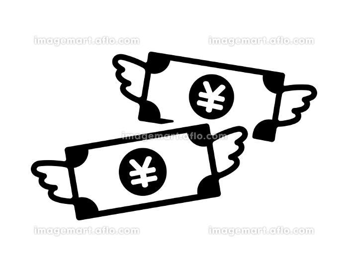 散財 浪費 贅沢 お金が飛んでいく アイコン(日本円)の販売画像