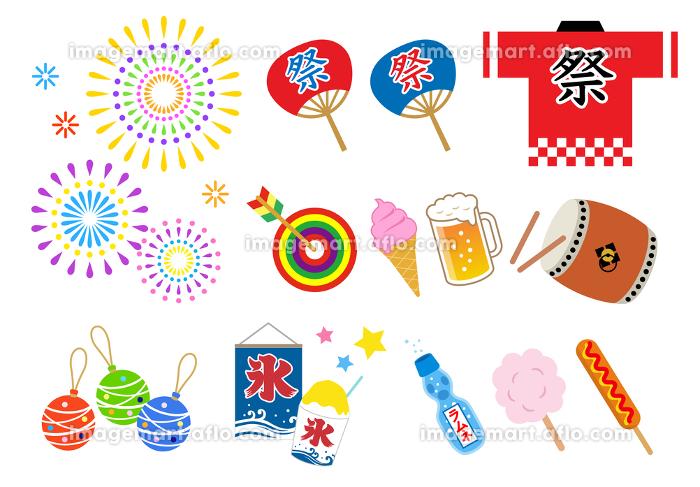夏祭り イラスト セットの販売画像