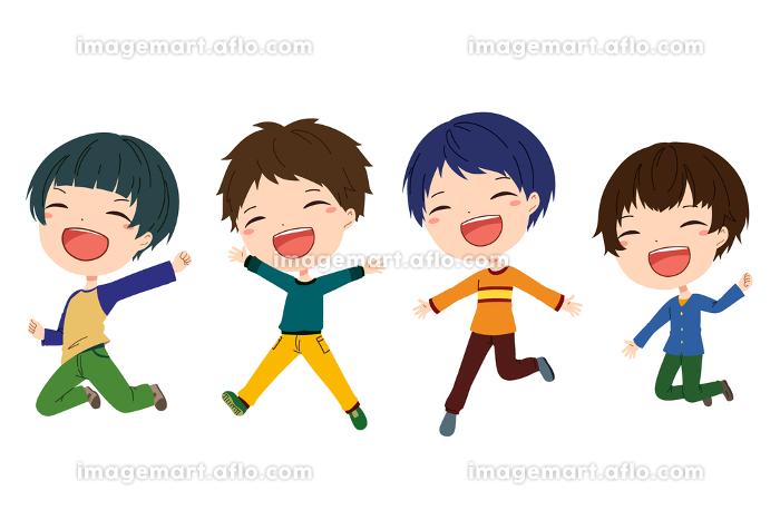 ジャンプしている笑顔の男の子たちのイラストの販売画像
