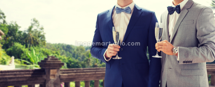 close up of male gay couple with champagne glassesの販売画像