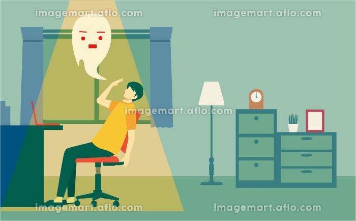 デスクワークでの疲労により魂が抜けている男性 人物フラットイラスト 部屋の販売画像