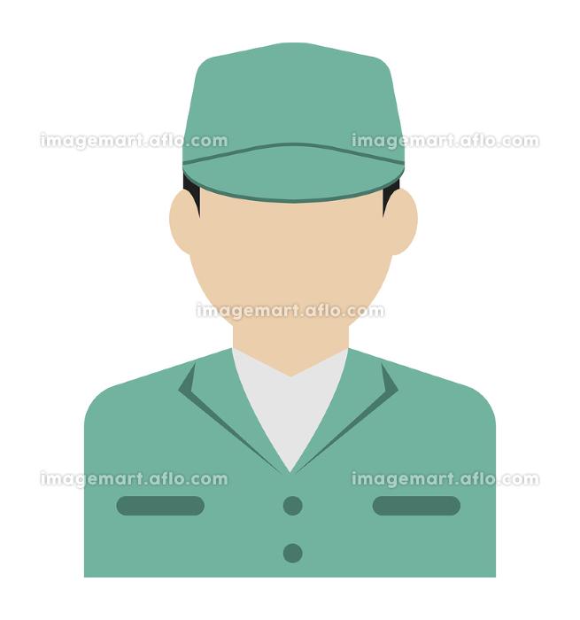 上半身シルエット人物イラスト (アジア人・日本人・白人) / 労働者・作業員・清掃員・軍人の販売画像