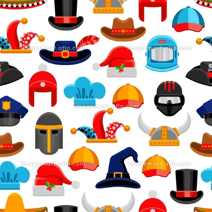 Headwear Seamless Pattern. Headwear seamless colorful pattern with different kinds of hats from various ages and styles vector illustrationの販売画像