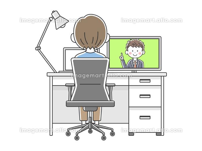 リモートワークでオンライン会議をする男性のイラストの販売画像