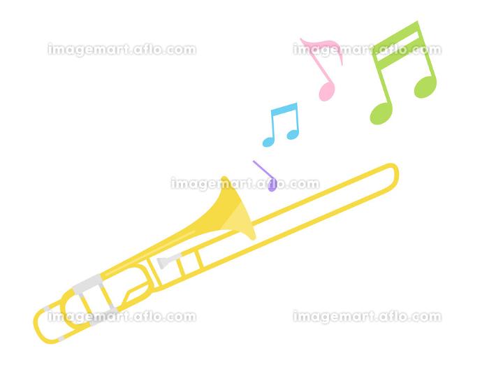 楽器のトロンボーンを演奏するイラストの販売画像