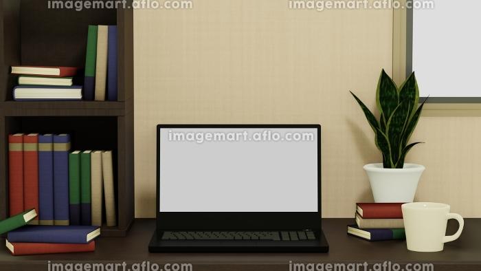 本棚とノートパソコンとコーヒーカップと観葉植物の背景 3DCG 部屋 書斎の販売画像