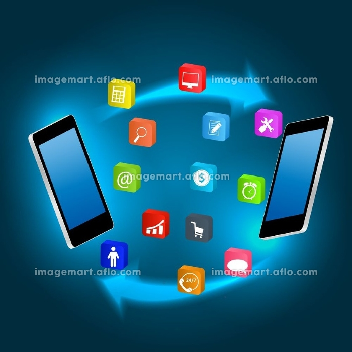 Mobile phone with  icons vector ilustrationの販売画像