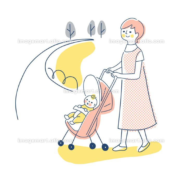 ベビーカーでお散歩する赤ちゃんとママの販売画像