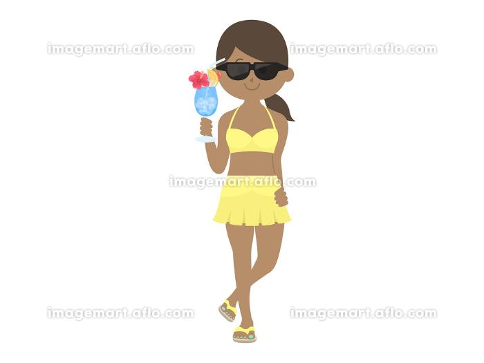ドリンクを持った水着女性のイラストの販売画像