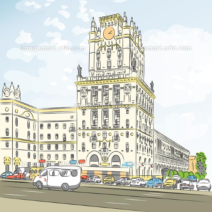 Vector color sketch of a city-centerの販売画像