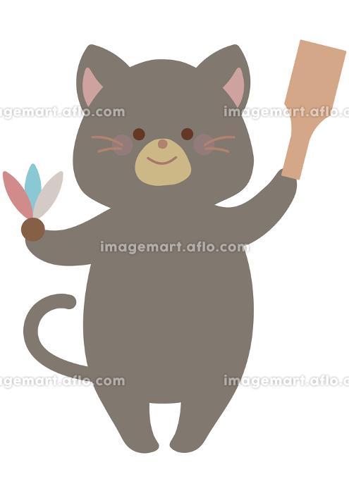お正月 羽子板とネコの販売画像