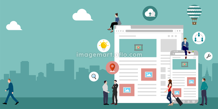 インターネット・ITビジネス・グローバルネットワーク イメージバナーイラスト(文字スペース)の販売画像