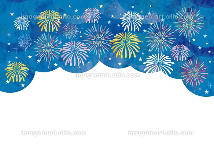 花火大会の水彩風フレーム素材の販売画像