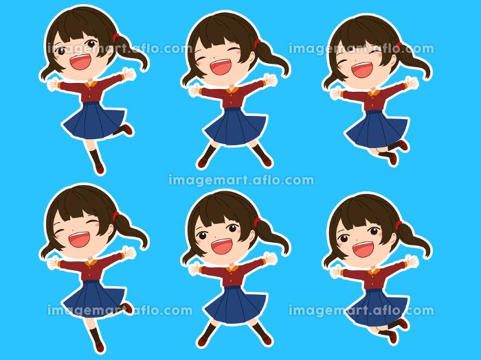 白フチつきのジャンプしている女の子の表情、の販売画像