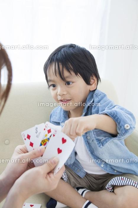 ババ抜きをする母子の販売画像