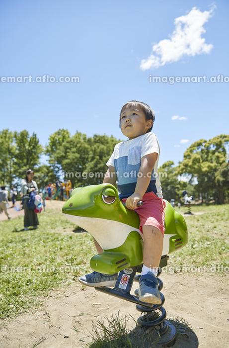 公園で遊ぶ日本人の男の子