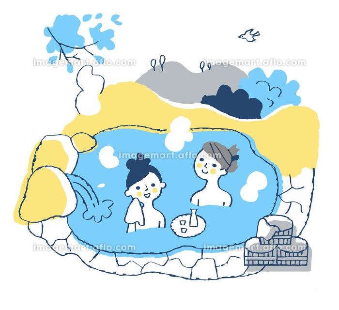 温泉に浸かる女性2人