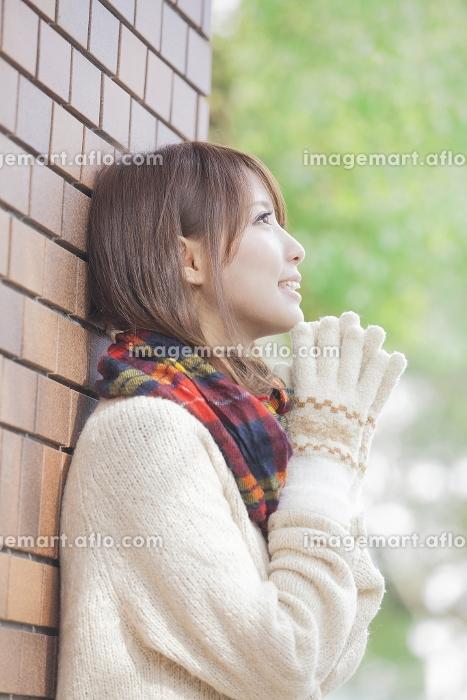 マフラーと手袋をした女性の販売画像