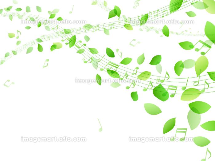 舞う緑の葉と流れる五線譜 音符の販売画像