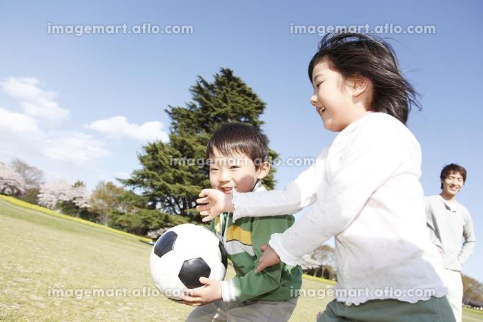 ボールを持って遊ぶ姉弟の販売画像