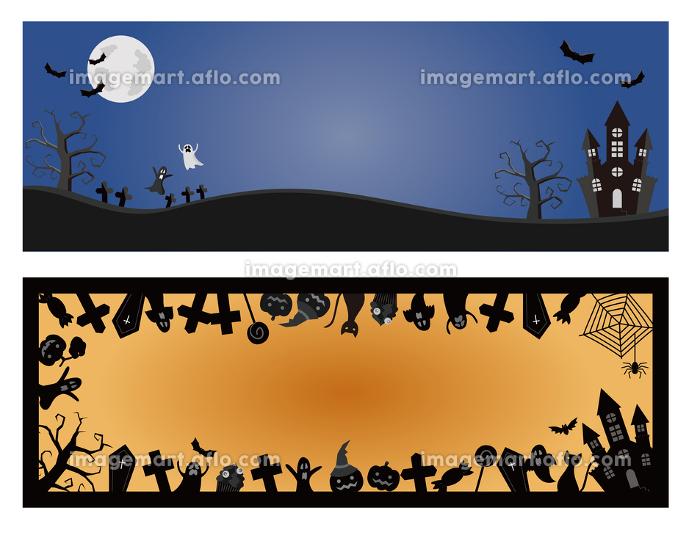 2種類のハロウィーン用背景イラストの販売画像