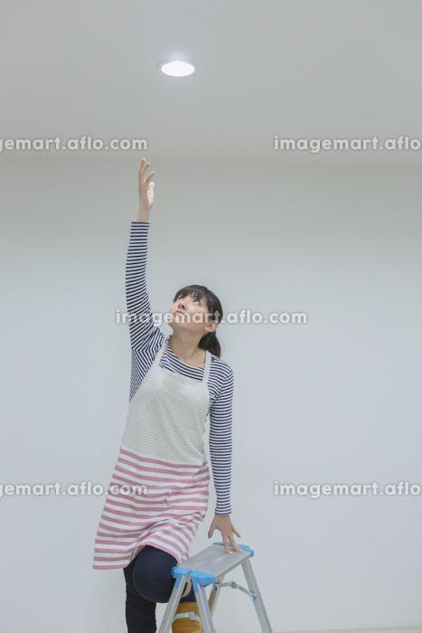 電球を取り替える女性の販売画像