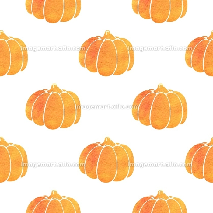 Vector seamless pattern with orange watercolor pumpkin. Design for Thanksgiving Day.