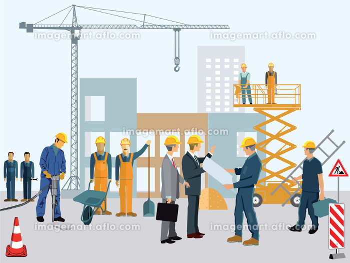 construction site with workers and architectの販売画像