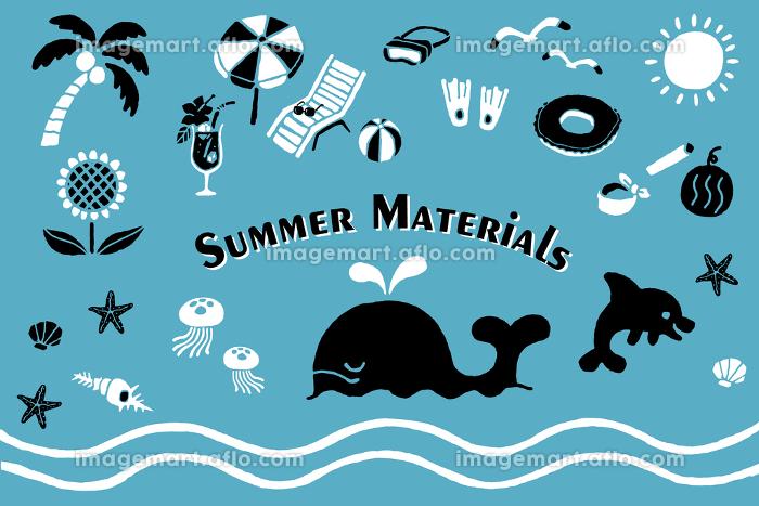 シルエット調の海のイラストセットの販売画像