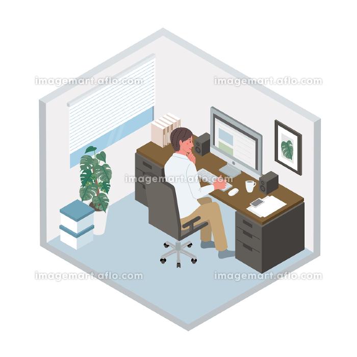 リモートワーク パソコンをする男性 イラストの販売画像