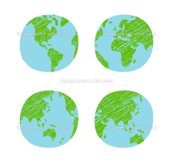 色鉛筆でラフに塗りつぶした手描き風世界地図 / 地球 ベクターイラスト (平面)の販売画像