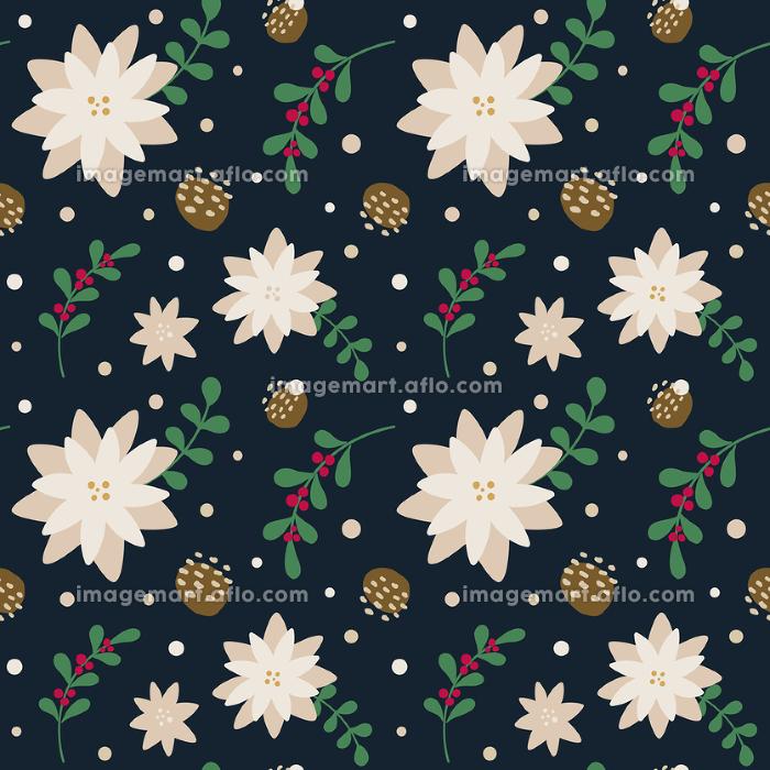 冬の花柄シームレスパターンの販売画像