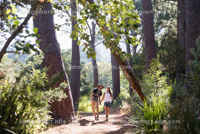 Hikers holding hands on trail in forestの販売画像