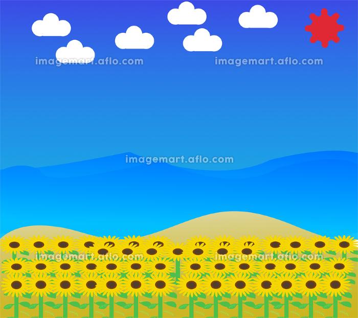 ひまわりと海空風景イラストの販売画像